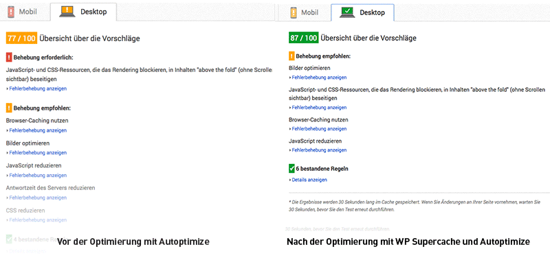 wordpress optimieren fertig